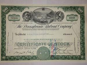 Pennsylvania Railroad Co original stock certificate with Altoona horseshoe curve