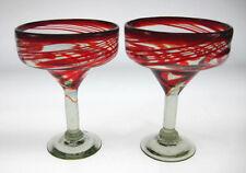 Margarita Glasses Red swirl design (2) from Mexico
