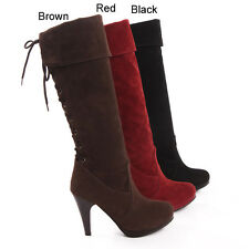 Ladies Womens Lace up Platform High Heel Knee High Boots Shoes UK Size 1-12 A279