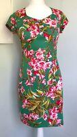 JOE BROWNS Green Pink Tropical Floral Print Pencil Dress Sz 10 Stretch Cotton