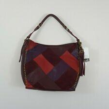 New The Sak Silverlake Patchwork Leather Hobo Shoulder Bag Cabernet Burgundy