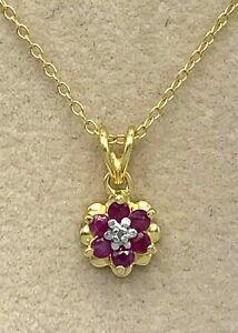 Pendant Ruby & Diamond 925er Silver Pendant with Chain