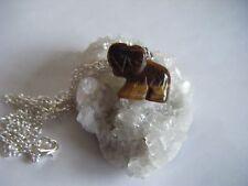 Spiritual Healing Tiger's Eye Elephant Necklace Protective Earth Sun Energies #3