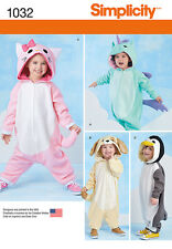 Simplicity SEWING PATTERN 1032 Toddlers Costumes-Penguin,Dog,Unicorn,Cat 1/2-4