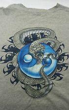 VTG 90s JNCO Jean T Shirt XXL Gray Blue Ying Yang Logo Scaled Metal Silver Snake