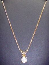 Hallmarked 9ct Yellow Gold Natural 0.10 Carat Solitaire Diamond Pendant Necklace