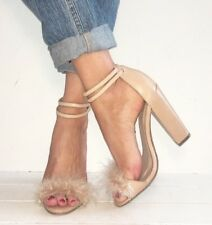 TOPSHOP Nude Leather Fluffy 2 Part Barely There Block Heels Size 5