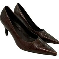 Lauren Ralph Lauren Leather Pumps Heels 8.5 Bonette Brown Croc Embossed Brazil