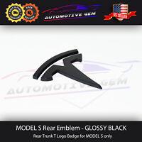 Tesla Model S Logo T Badge Rear Lid Trunk Emblem Gloss Black OEM Upgrade