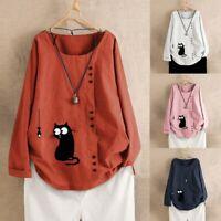 Women Long Sleeve Cotton Linen Kaftan Ladies Baggy Cat Printed Shirt Tops Blouse