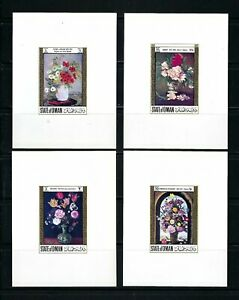 Oman(State of)  Flower Arrangements   MNH Imperf Mini S/S Set-8 Sheets-TWO SCANS