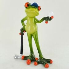 More details for comical frogs golfer small resin figurine   golf gift (80328)