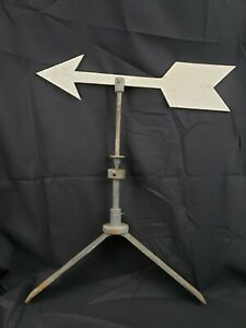 "Antique Weathervane Arrow Directional Cast Iron Metal Old Gray / White Paint 22"""