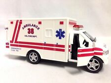"Rescue Team Fire Department, Paramedic Ambulance, 5"" Diecast Pull Back Toy White"