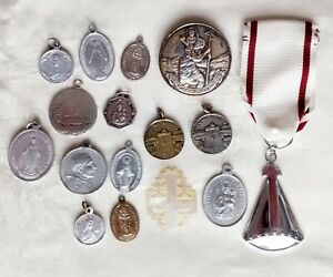 Joblot Collection of Vintage Religious Medals Charms Catholic Our Lady