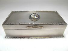 Antique Silver cigarette hinged lid box. Enameled Masonic badge (#1158)