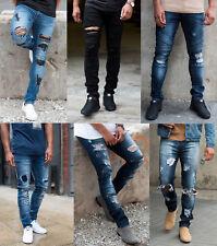 Mens Loyalty Skinny Stretch Denim Designer Distress Ripped Repair Stylish Jeans