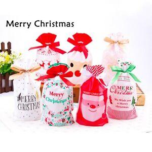 10-50X Christmas Sacks Drawstring Wrap Gift Party Bags Present Storage Reusable