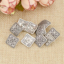 10 Pcs Square Floral Carved Shank Buttons Sewing Antique Silver Craft Metal New