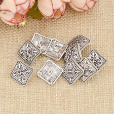 10 Pcs Square Floral Carved Shank Buttons Sewing Antique Silver Craft Metal