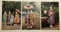 3 x Vintage Asian Japan Geisha Girls Postcards