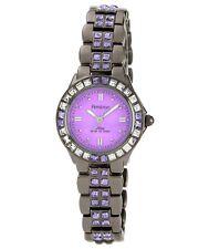 Armitron Womens Swarovski Crystal Purple Dial Gun Metal Band Watch 75/3689VMDG