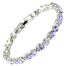 Rhinestone Crystal Purple Amethyst Tennis Bracelet (Extended Clasp)