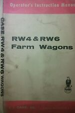 Case RW4 & RW6 Farm Wagons Owners & Parts Manual Agricultural Crop Tractor j.i