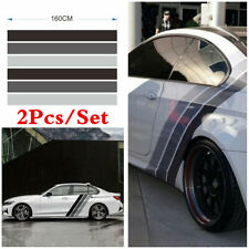 2x Racing Car Body Side Vinyl Decal Stickers Tricolor Lines Long Stripes Graphic