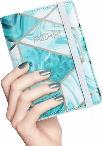 Nacuwa Travel Passport Holder ID Card Cover Leather RFID Blocking Wallet Case