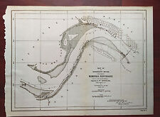 1892 Map of Mississippi River Memphis Tennessee Old Hen Island