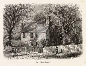 "RHODE ISLAND - The ""Abbott House"" Roger Williams 1874 Engraving #C23"