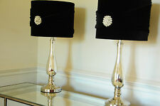 Pair of Large Table Lamps 56cm Height Mirrored Base Black Vevet Pearl shade