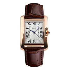 New Fashion Women's Rose Gold Genuine Leather Analog Square Quartz Wrist Watch