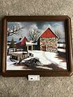 """H Hargrove 20""""x24"""" Winter Barns Wagon Framed 2x Signed Registered Certified"""