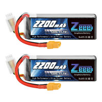 2PCS 2200mAh 120C 11.1V 3S Graphene XT60 Plug LiPo Battery for RC FPV Quad Drone