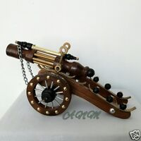 Antique Wood Brass Cannon Vintage Collectible Home Decorative