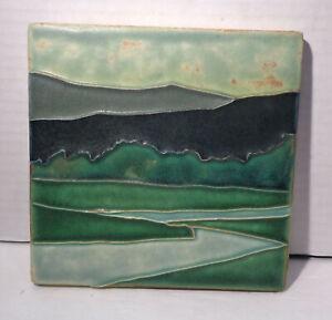 "Motawi Tileworks Ann Arbor MI 6"" x 6"" Lt & Dark Green Abstract Design Art Tile!"