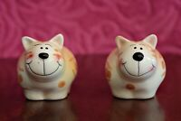 Vintage Ginger coloured Cats Salt And Pepper Cruet set