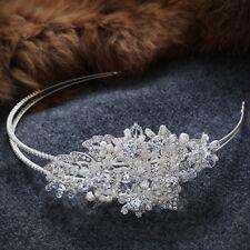 10x6cm Large Flower Crystal Pearl Wedding Bridal Prom Party SIDE Tiara Headband