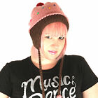 Delux Strawberry Cupcake Pink Winter Warm Wool Sprinkles Pilot Hat Knitwits NWT