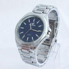 Men`s Quality Orlando Silver Quartz Blue Dial Linked Band Dress Wrist Watch.
