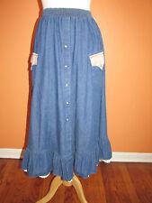 Vtg Rockmount Ranch Wear Size S Western Cowgirl Rockabilly Ruffle Denim Skirt