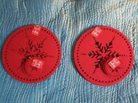 BN SET8 RED FELT CHRISTMAS SNOWFLAKE TABLE PLACEMATS 8 COASTERS XMAS PLACE MATS