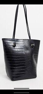 Ex OASIS HATTY Faux Croc Black Tote Bag