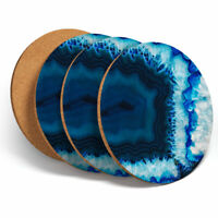 4 Set - Macro Agate Geode Science Coasters - Kitchen Drinks Coaster Gift #3437