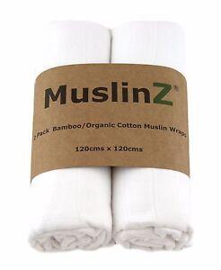 MuslinZ 2PK Luxury Baby Muslin Swaddles 120cm Bamboo/Organic Cotton White