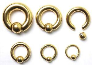 12g- 00g CBR Genital Prince Albert Heavy Gauge Spring Captive Bead Ring GOLD CBB