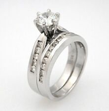 1.40ct Round Cut Diamond Solitaire Wedding Engagement Ring Set 14K White Gold
