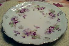 1910 Porzellanfabrik Moschendorf Bavaria Germany Plate Purple Flowers Gold Trim